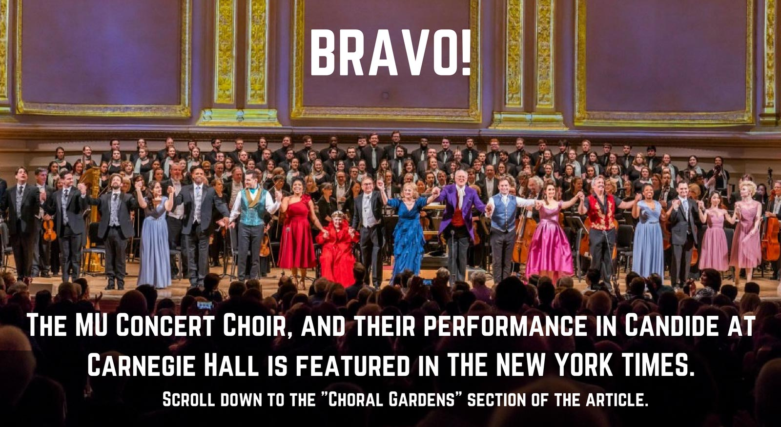 BRAVO! Concert Choir performance featured in New York Times