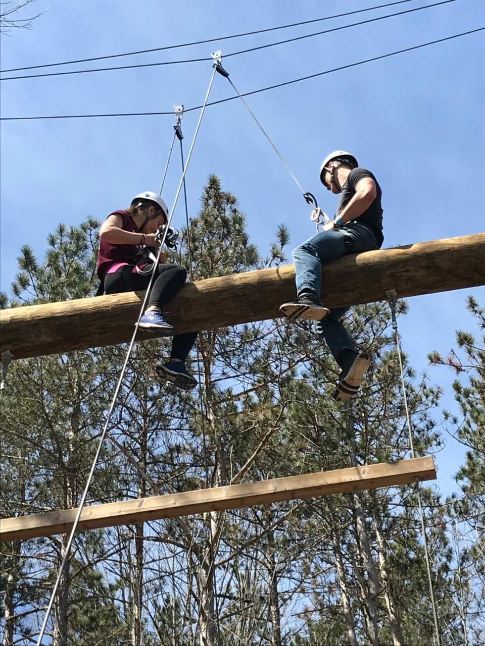 Students on high ropes course