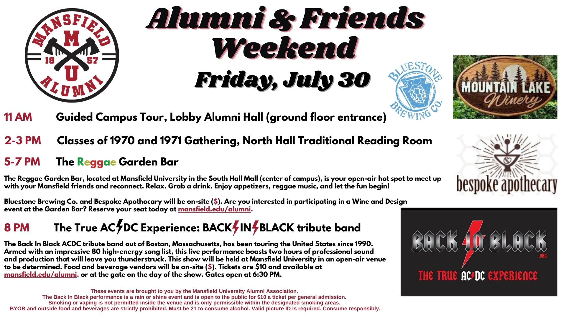 Alumni and Friends Weekend, Friday July 30th, 2021