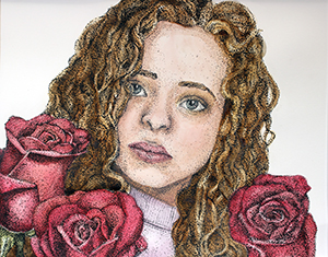 Image of Kalysta Donaghy Robinson's No Ordinary Rose, Pen and Watercolor