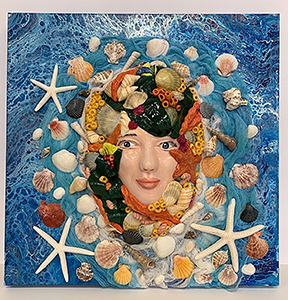Image of Nancy Rosario's Mistress of the Sea, Clay, Acrylic Paint Cheese Cloth Shells