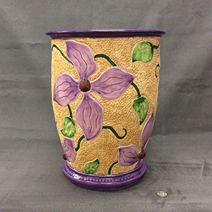 Image of Rosemarie W. Cox's Stylized Clematis, Ceramic Coil Pot