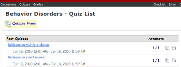 Quiz List