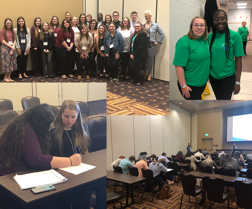 Group of photos of students at conference